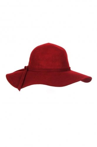 FFOMO Elisa,bow detail, Burgundy floppy wool hat.