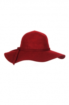 Elisa,bow detail, Burgundy floppy wool hat.