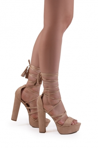 FFOMO Elle nude faux suede lace up with tassel platforms