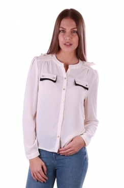 Emily Black Pocket Cream Blouse