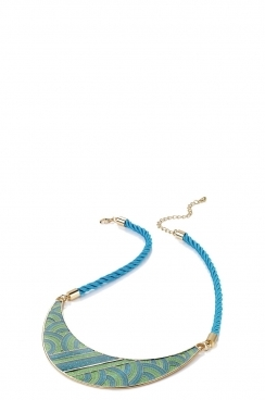 Enamel Cord Half Moon Necklace
