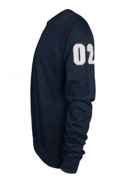 Ezra 02 Applique Arm Patch Navy Sweatshirt