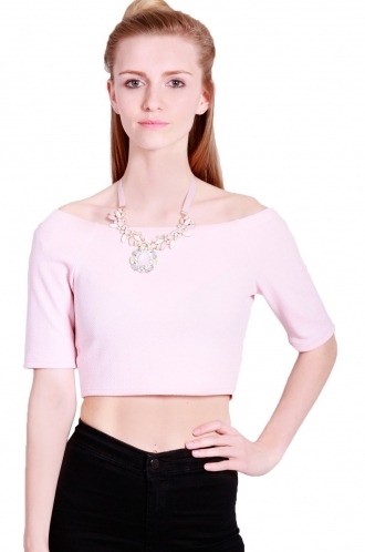FFOMO Faith crop top with dropped shoulders