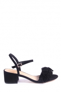Felicity black block heeled sandals faux suede tassels