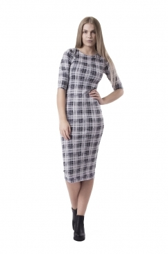 Felicity Mono Checked BodyCon Dress