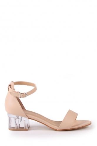 FFOMO Frankie PU nude perspex block heel