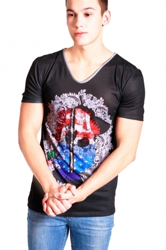 FFOMO Freddie college Print Slim Fit with Deep V Neckline T-shirt