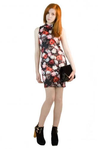 FFOMO Gemma High Neck Photographic Floral Bodycon Dress