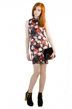 Gemma High Neck Photographic Floral Bodycon Dress