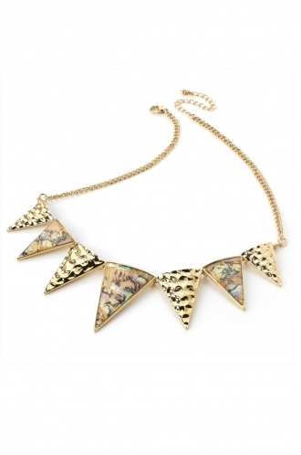 FFOMO Gold and marble toned necklace with triangles detail.
