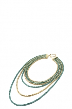 Gold and Mint Green Colour Chain Necklace