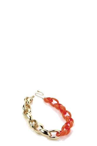 FFOMO Gold and Neon Orange Chain Necklace