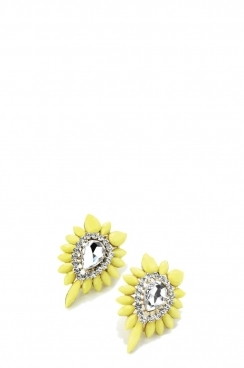 Gold and Neon Yellow Stud Earrings
