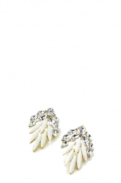 Gold and White Bead Earring