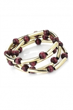 Gold and wooden beaded bracelets
