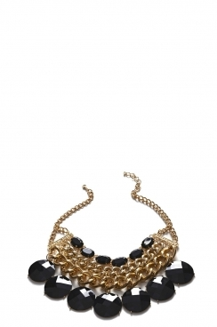 Gold Black Gem Necklace