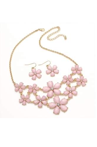 FFOMO Gold coloured necklace and earrings with baby pink coloured  floral shaped beads. necklace and earring set.