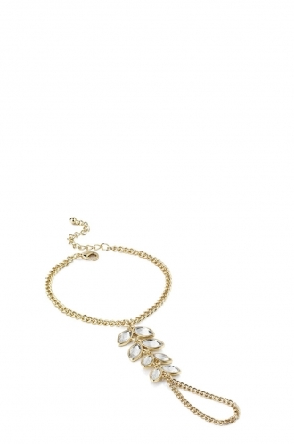FFOMO Gold Crystal Bracelet and Ring Chain