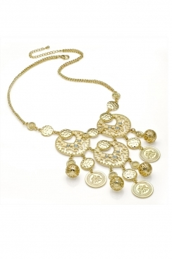 gold necklace, with bead and embosses patterned disk detailing.