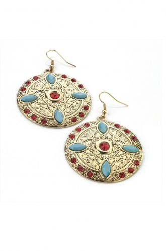 FFOMO Gold tone, red and turquoise aztec dangle earrings