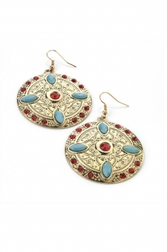 Gold tone, red and turquoise aztec dangle earrings