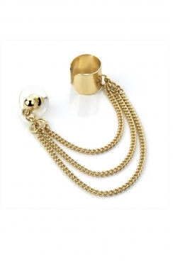 Gold tone stud and ear cuff with triple chain detail.