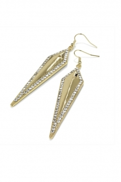 Gold toned dropped long  diamond shaped earrings with hook fastening.