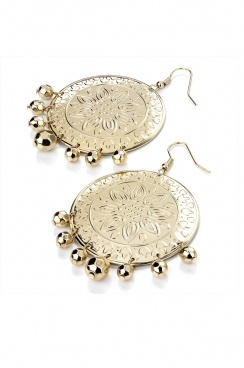 Gold toned exotic looking disk with embossed patterned, and bead detail.