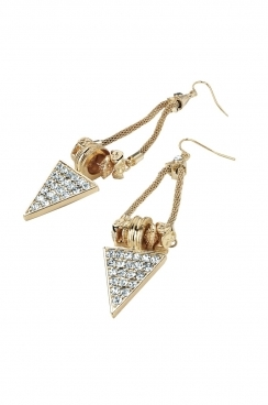 Gold toned long chained triangle earrings