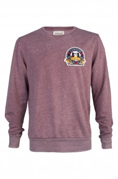 Greg London Embroidered Patch Faded Burgundy Sweatshirt