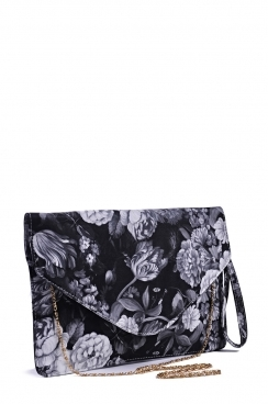 Grey Floral Oversized Envelope Clutch Bag