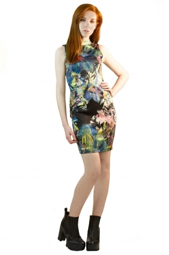 FFOMO Hailey High Tropical Floral Bodycon Dress