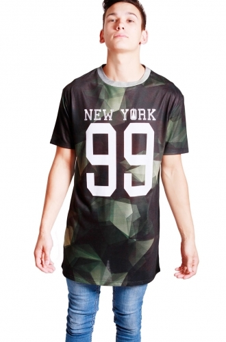 FFOMO Harry New York Print Camo long over sized T-shirt
