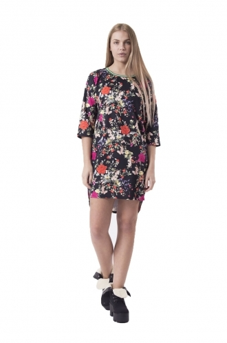 FFOMO Helena Winter Floral Shift Dress With Drop Back Hem