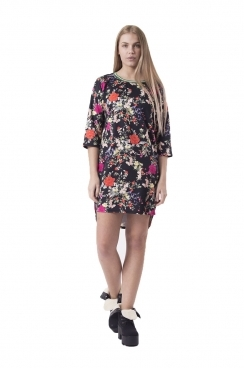 Helena Winter Floral Shift Dress With Drop Back Hem