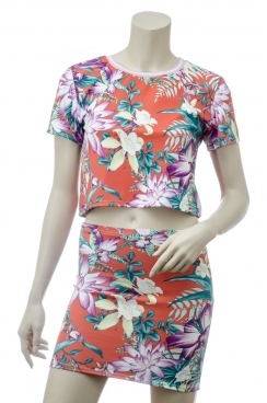 Hope Orange Tropical Print Crop Top With Matching Midi Zip Skirt