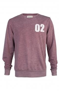 Ian 02 Applique Patch Faded Burgundy Sweatshirt
