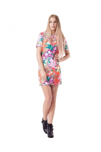 FFOMO Ireland Orange Tropical Print Shift Dress