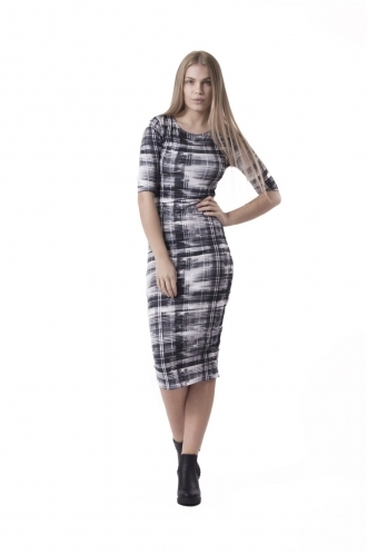 FFOMO Isla Monochrome Abstract Tartan BodyCon Dress