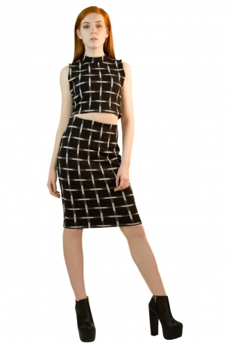 FFOMO Issy Black and White Checked Co-ord