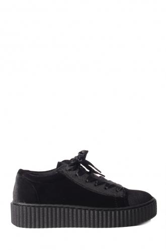 FFOMO Ivy black velvet flatform trainers