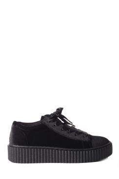 Ivy black velvet flatform trainers