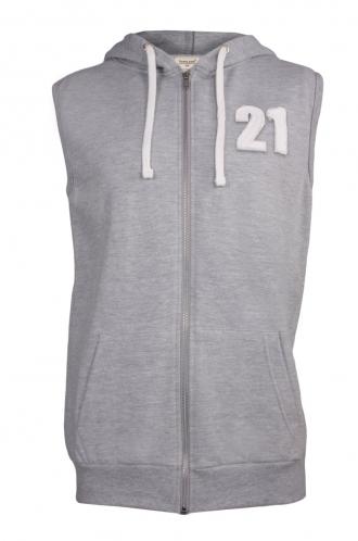 FFOMO Jaden 21 Applique Patch Sleeveless Metal Zipped Hoodie
