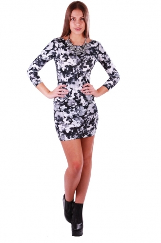 FFOMO Jane Monotone Floral Bodycon Dress