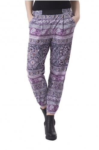 FFOMO Janice Purple Paisley Pattern Print Trousers