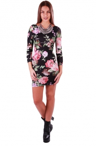 FFOMO Jayne Colourful Floral Bodycon Dress