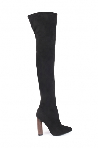 FFOMO Jazmyn black faux suede tight high boots with wooden style heel