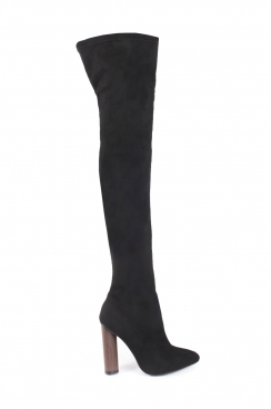 Jazmyn black faux suede tight high boots with wooden style heel
