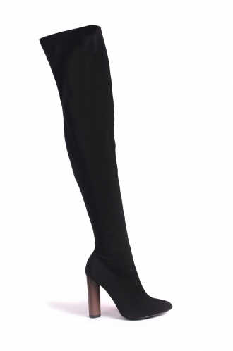 FFOMO Jazmyn black lycra tight high boots with wooden style heel