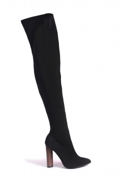 Jazmyn black lycra tight high boots with wooden style heel